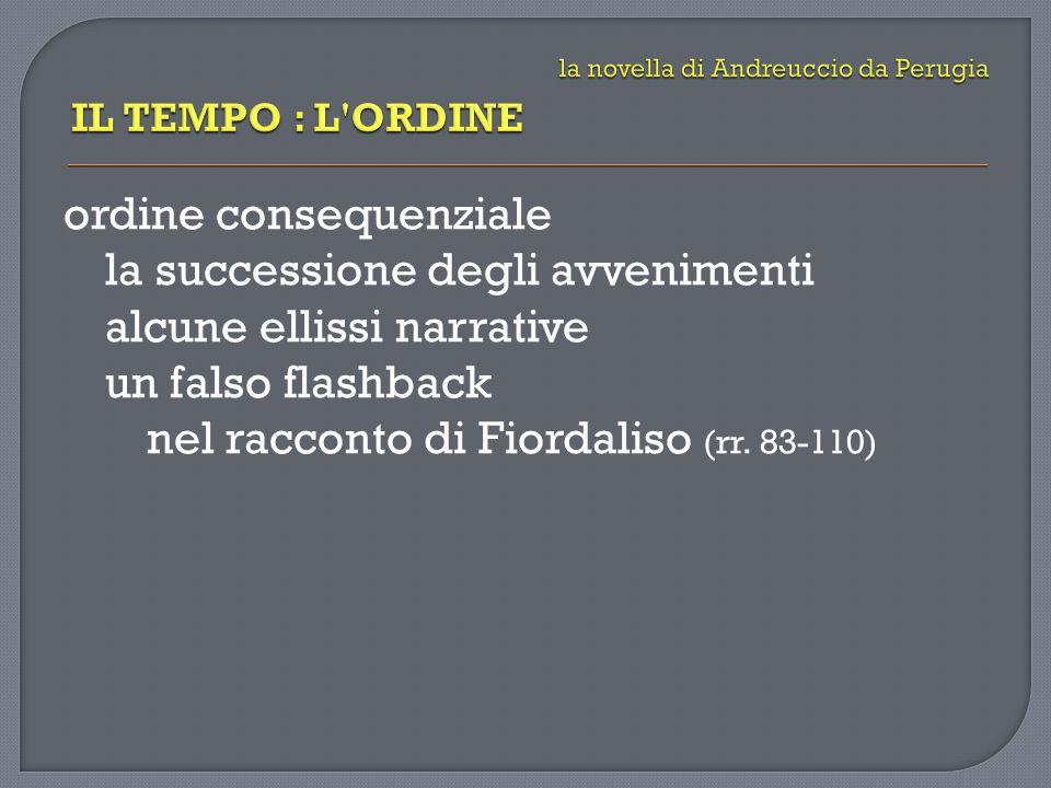 ordine consequenziale la successione degli avvenimenti alcune ellissi narrative un falso flashback nel racconto di Fiordaliso (rr. 83-110)