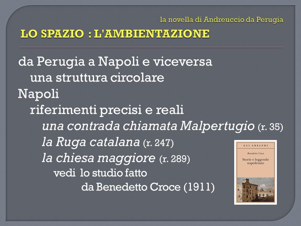 da Perugia a Napoli e viceversa una struttura circolare Napoli riferimenti precisi e reali una contrada chiamata Malpertugio (r. 35) la Ruga catalana