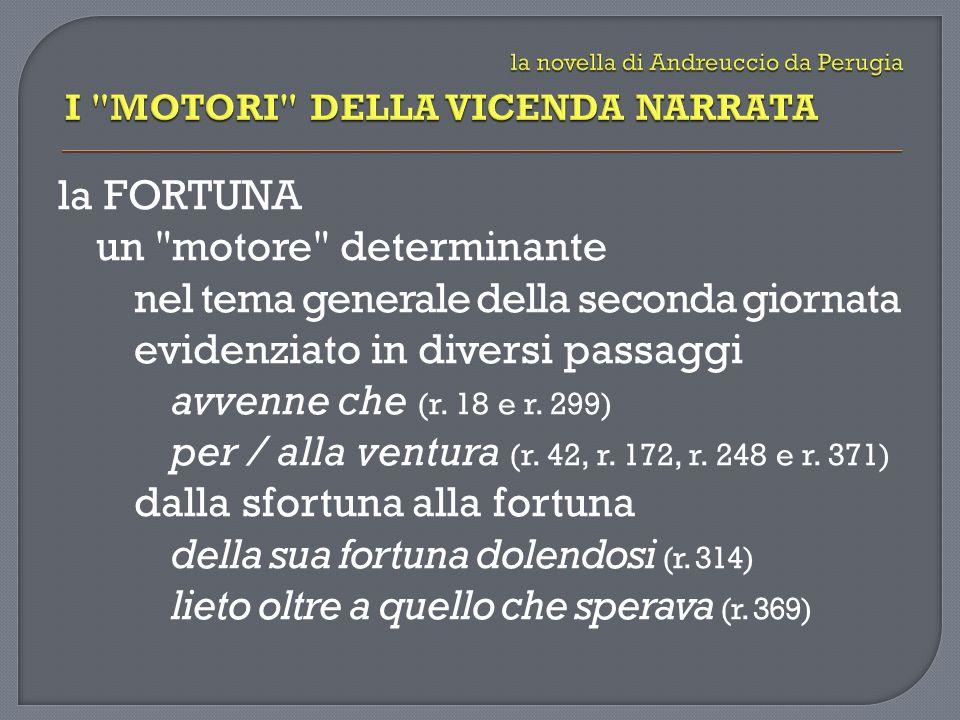la FORTUNA un motore determinante nel tema generale della seconda giornata evidenziato in diversi passaggi avvenne che (r.