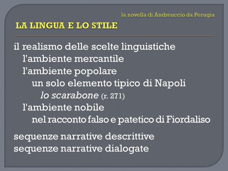 il realismo delle scelte linguistiche l'ambiente mercantile l'ambiente popolare un solo elemento tipico di Napoli lo scarabone (r. 271) l'ambiente nob