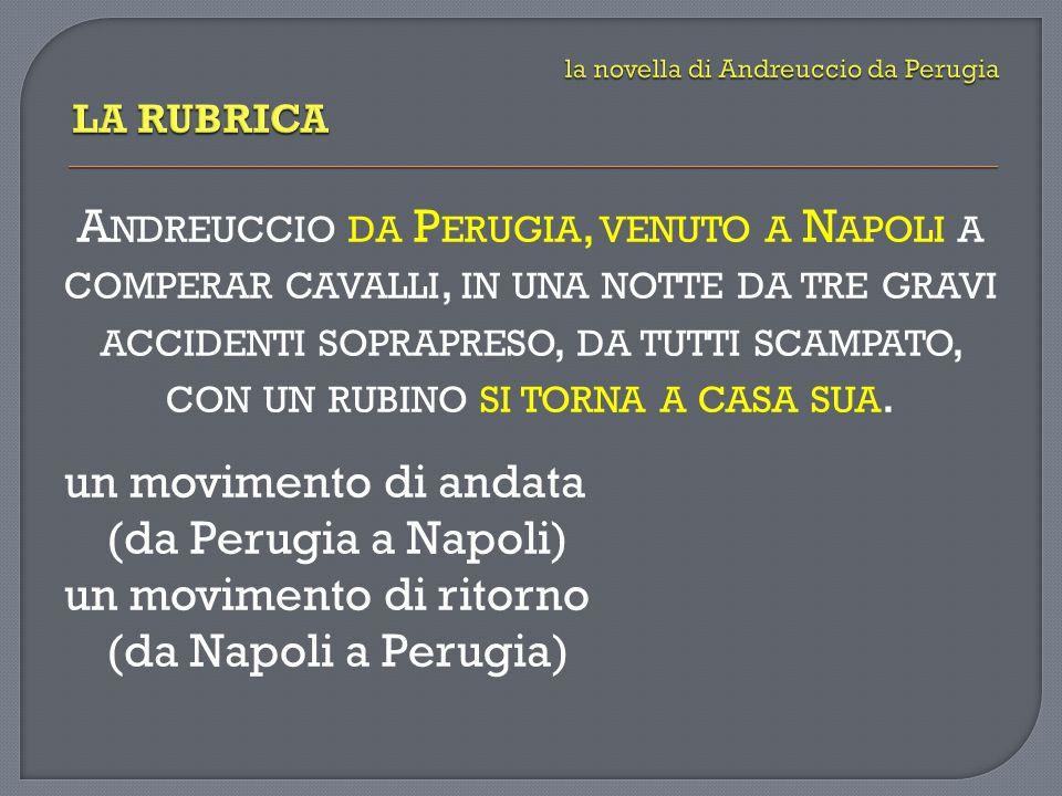 un movimento di andata (da Perugia a Napoli) un movimento di ritorno (da Napoli a Perugia)