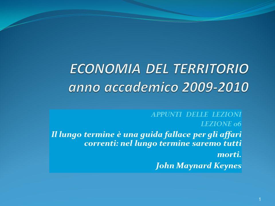 APPUNTI DELLE LEZIONI LEZIONE 06 Il lungo termine è una guida fallace per gli affari correnti: nel lungo termine saremo tutti morti. John Maynard Keyn