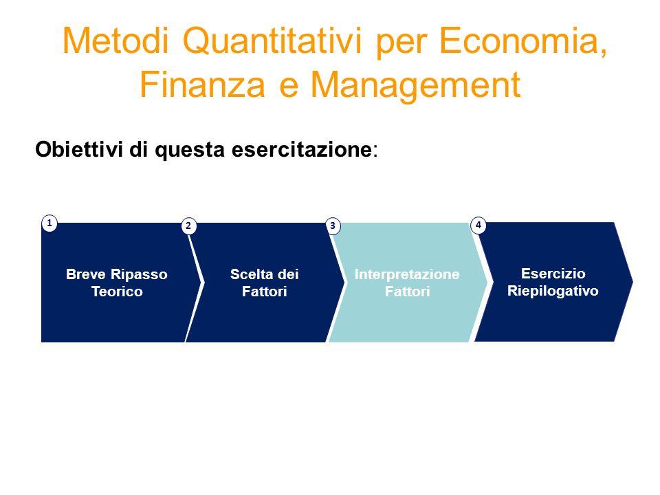 Metodi Quantitativi per Economia, Finanza e Management Obiettivi di questa esercitazione: Interpretazione Fattori 3 Breve Ripasso Teorico 1 Scelta dei