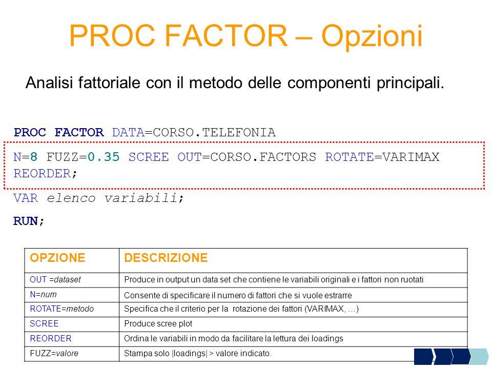 PROC FACTOR – Opzioni PROC FACTOR DATA=CORSO.TELEFONIA N=8 FUZZ=0.35 SCREE OUT=CORSO.FACTORS ROTATE=VARIMAX REORDER; VAR elenco variabili; RUN; OPZION