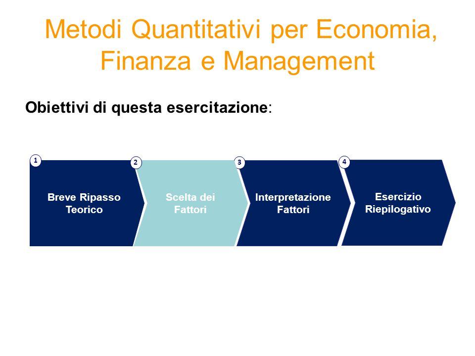 Metodi Quantitativi per Economia, Finanza e Management Obiettivi di questa esercitazione: Interpretazione Fattori 3 Breve Ripasso Teorico 1 Scelta dei Fattori 2 Esercizio Riepilogativo 4