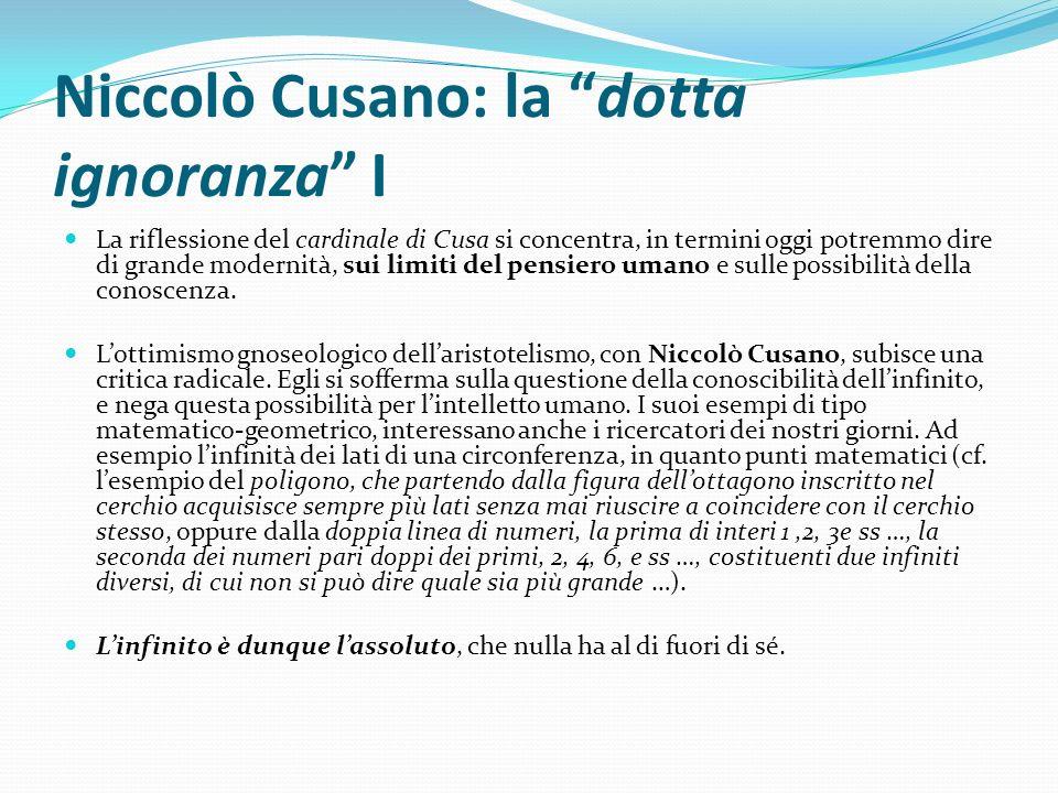 Niccolò Cusano: la dotta ignoranza I La riflessione del cardinale di Cusa si concentra, in termini oggi potremmo dire di grande modernità, sui limiti