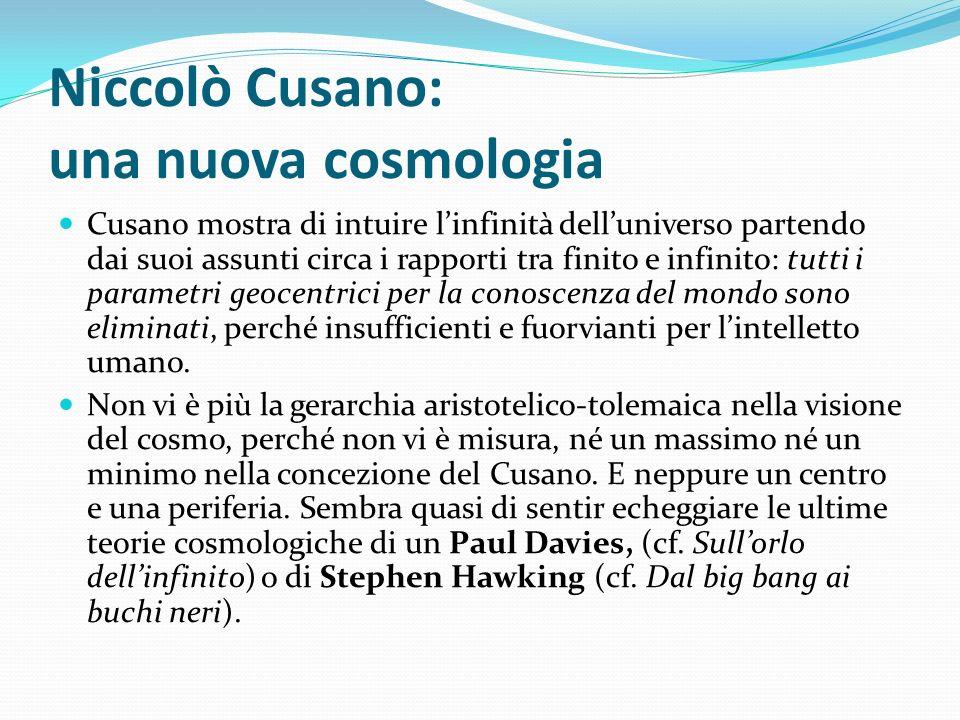 Niccolò Cusano: una nuova cosmologia Cusano mostra di intuire linfinità delluniverso partendo dai suoi assunti circa i rapporti tra finito e infinito: