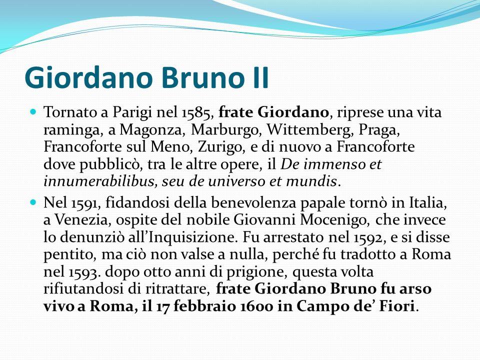 Giordano Bruno II Tornato a Parigi nel 1585, frate Giordano, riprese una vita raminga, a Magonza, Marburgo, Wittemberg, Praga, Francoforte sul Meno, Z