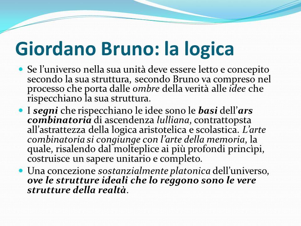 Giordano Bruno: la logica Se luniverso nella sua unità deve essere letto e concepito secondo la sua struttura, secondo Bruno va compreso nel processo