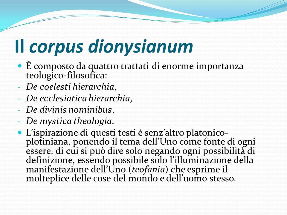 Il corpus dionysianum È composto da quattro trattati di enorme importanza teologico-filosofica: - De coelesti hierarchia, - De ecclesiatica hierarchia