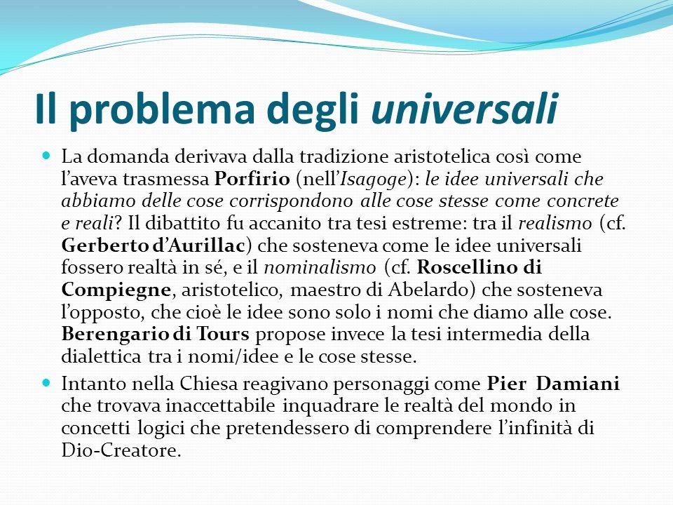 Il problema degli universali La domanda derivava dalla tradizione aristotelica così come laveva trasmessa Porfirio (nellIsagoge): le idee universali c