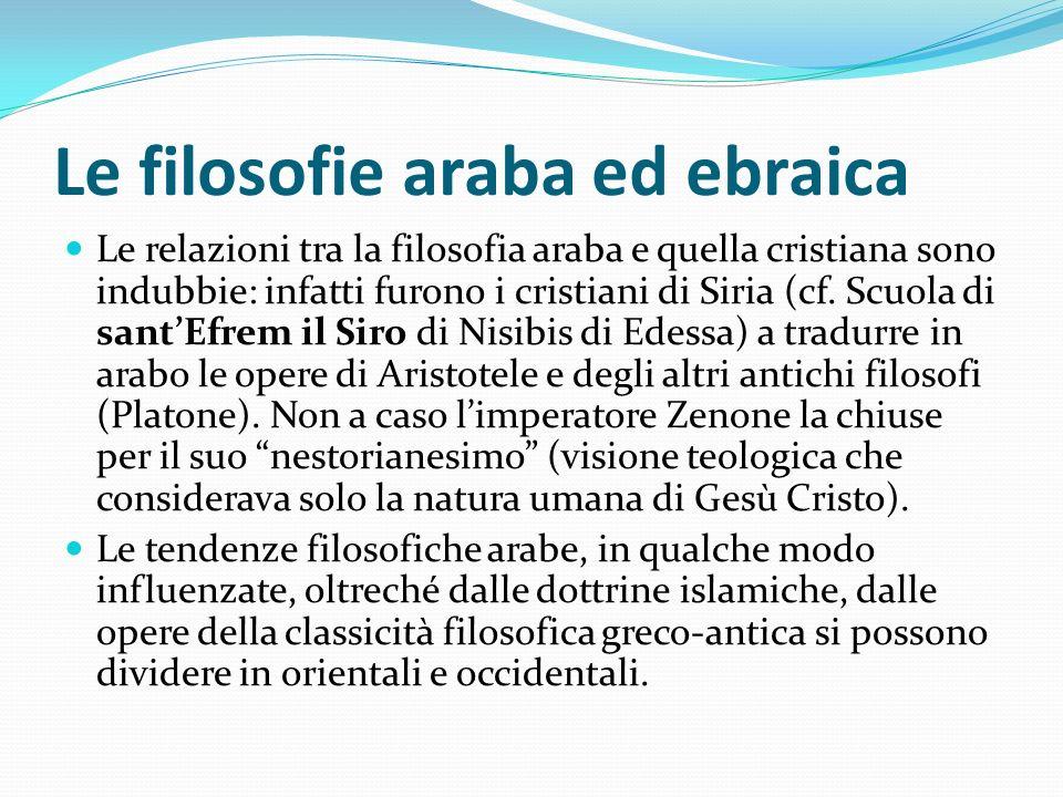 Le filosofie araba ed ebraica Le relazioni tra la filosofia araba e quella cristiana sono indubbie: infatti furono i cristiani di Siria (cf. Scuola di