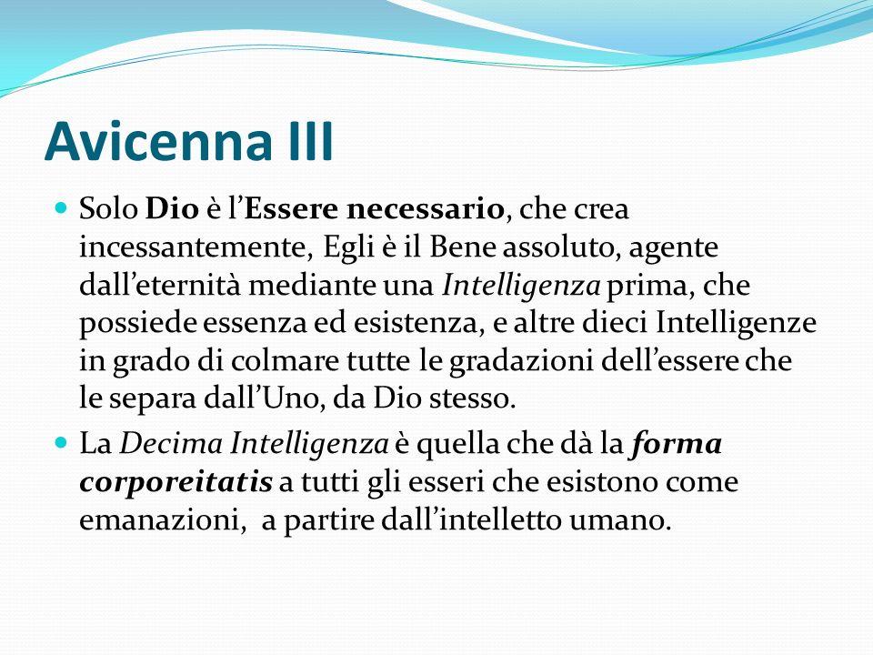 Avicenna III Solo Dio è lEssere necessario, che crea incessantemente, Egli è il Bene assoluto, agente dalleternità mediante una Intelligenza prima, ch