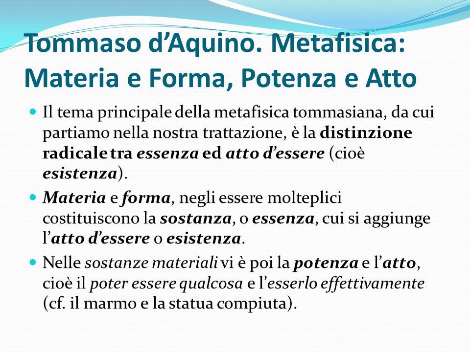 Tommaso dAquino. Metafisica: Materia e Forma, Potenza e Atto Il tema principale della metafisica tommasiana, da cui partiamo nella nostra trattazione,