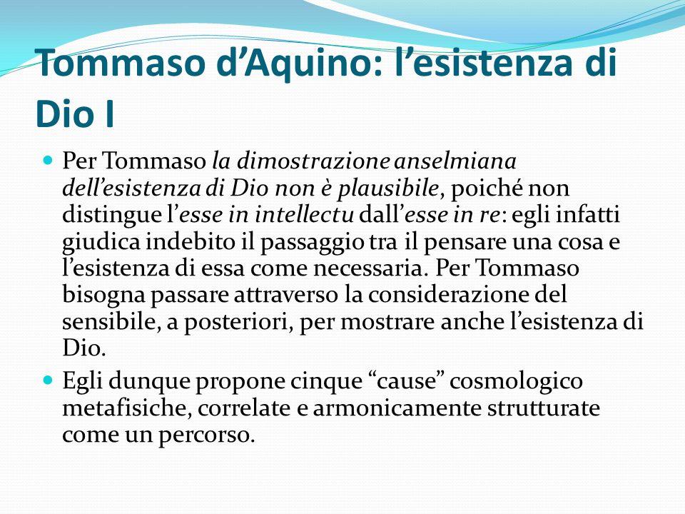 Tommaso dAquino: lesistenza di Dio I Per Tommaso la dimostrazione anselmiana dellesistenza di Dio non è plausibile, poiché non distingue lesse in inte