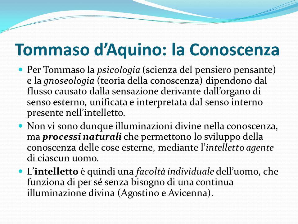 Tommaso dAquino: la Conoscenza Per Tommaso la psicologia (scienza del pensiero pensante) e la gnoseologia (teoria della conoscenza) dipendono dal flus