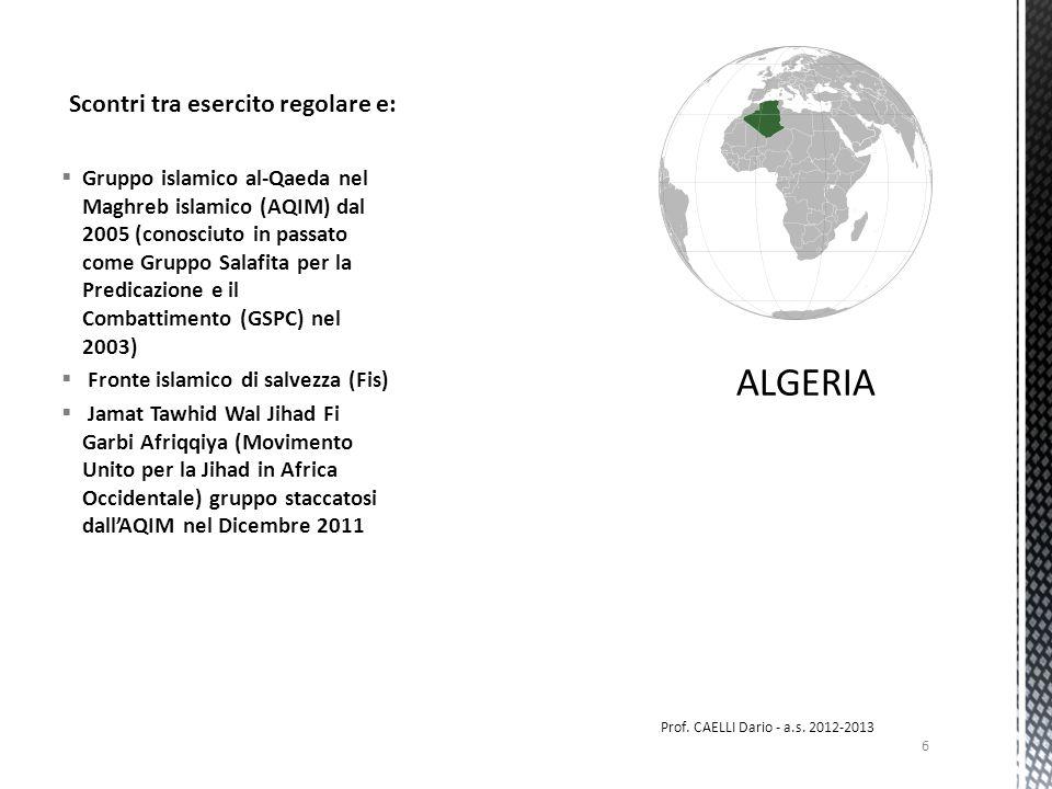 Gruppo islamico al-Qaeda nel Maghreb islamico (AQIM) dal 2005 (conosciuto in passato come Gruppo Salafita per la Predicazione e il Combattimento (GSPC) nel 2003) Fronte islamico di salvezza (Fis) Jamat Tawhid Wal Jihad Fi Garbi Afriqqiya (Movimento Unito per la Jihad in Africa Occidentale) gruppo staccatosi dallAQIM nel Dicembre 2011 Scontri tra esercito regolare e: 6 Prof.