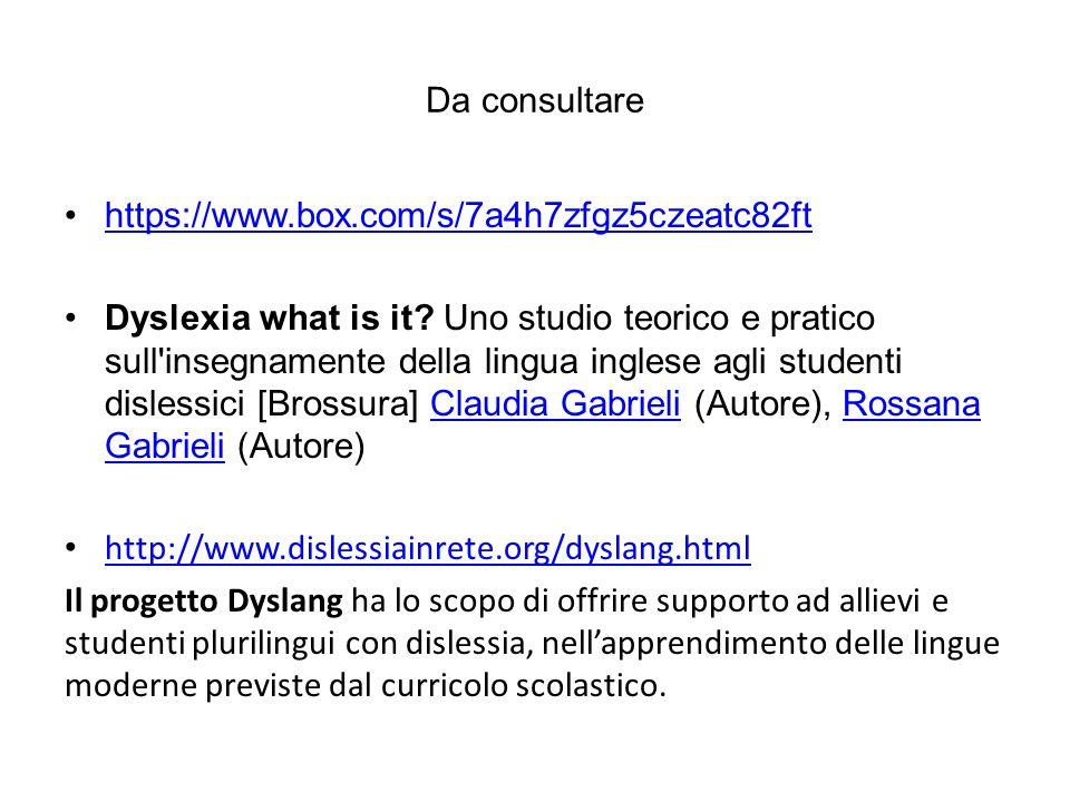 Da consultare https://www.box.com/s/7a4h7zfgz5czeatc82ft Dyslexia what is it? Uno studio teorico e pratico sull'insegnamente della lingua inglese agli
