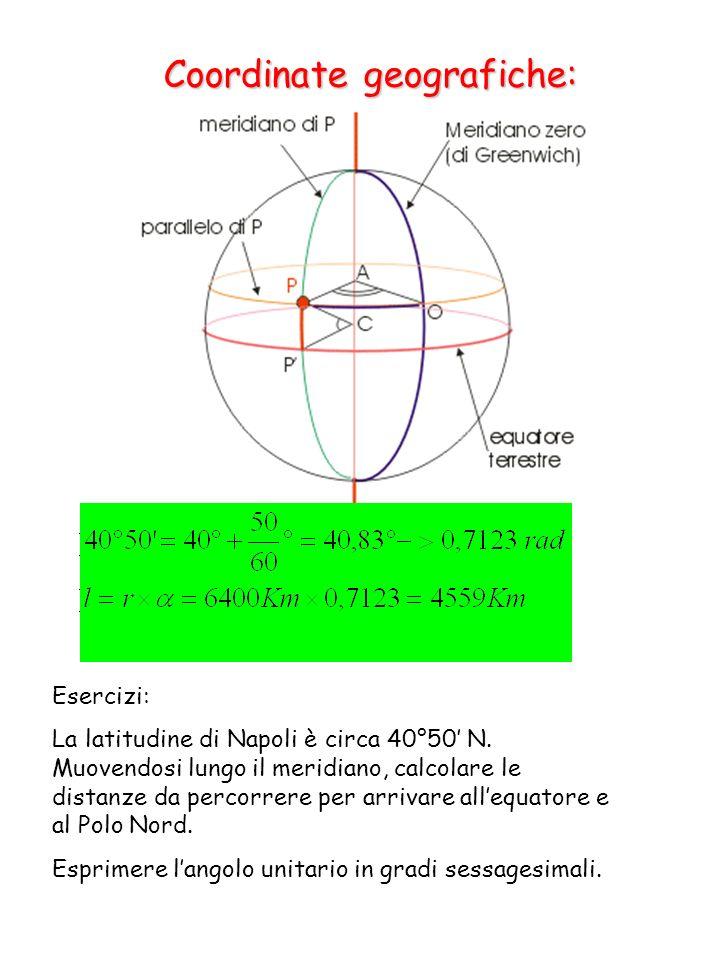 Coordinate geografiche: Esercizi: La latitudine di Napoli è circa 40°50 N.