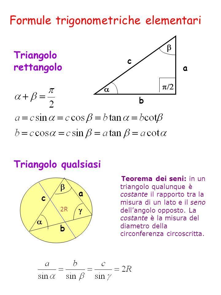 Formule trigonometriche elementari a c b Triangolo rettangolo Triangolo qualsiasi Teorema dei seni: in un triangolo qualunque è costante il rapporto tra la misura di un lato e il seno dellangolo opposto.