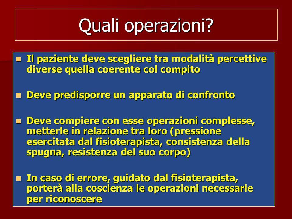 Quali operazioni? Il paziente deve scegliere tra modalità percettive diverse quella coerente col compito Il paziente deve scegliere tra modalità perce