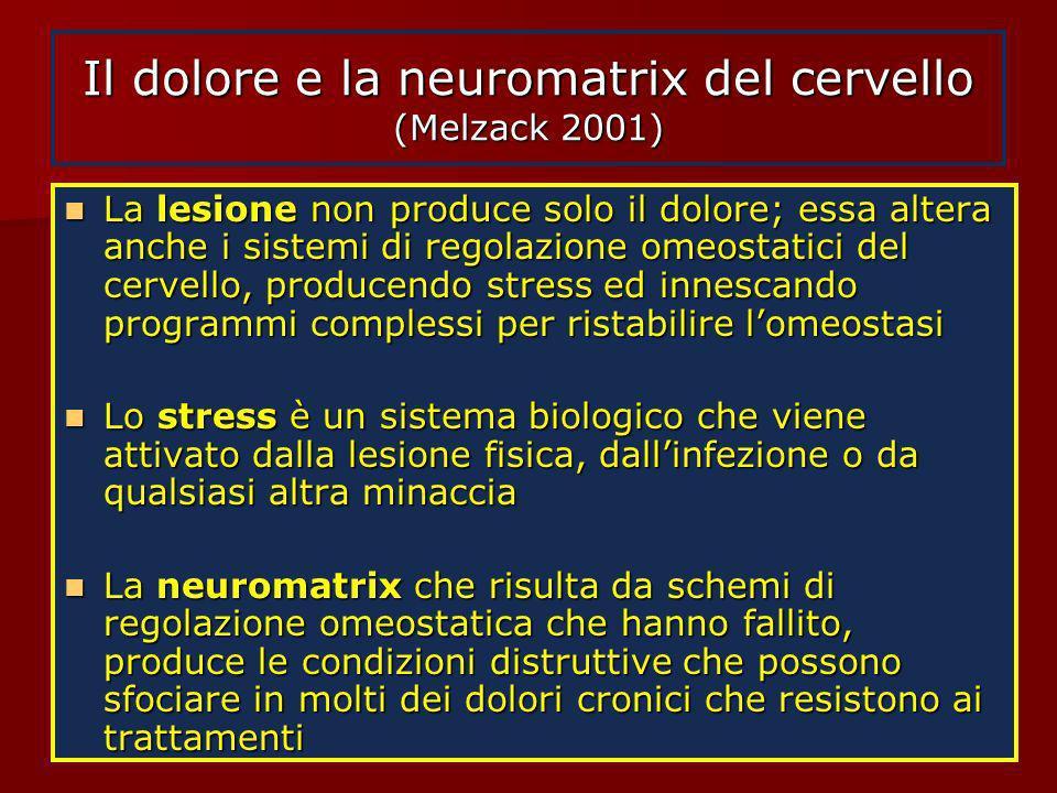 Il dolore e la neuromatrix del cervello (Melzack 2001) La lesione non produce solo il dolore; essa altera anche i sistemi di regolazione omeostatici d