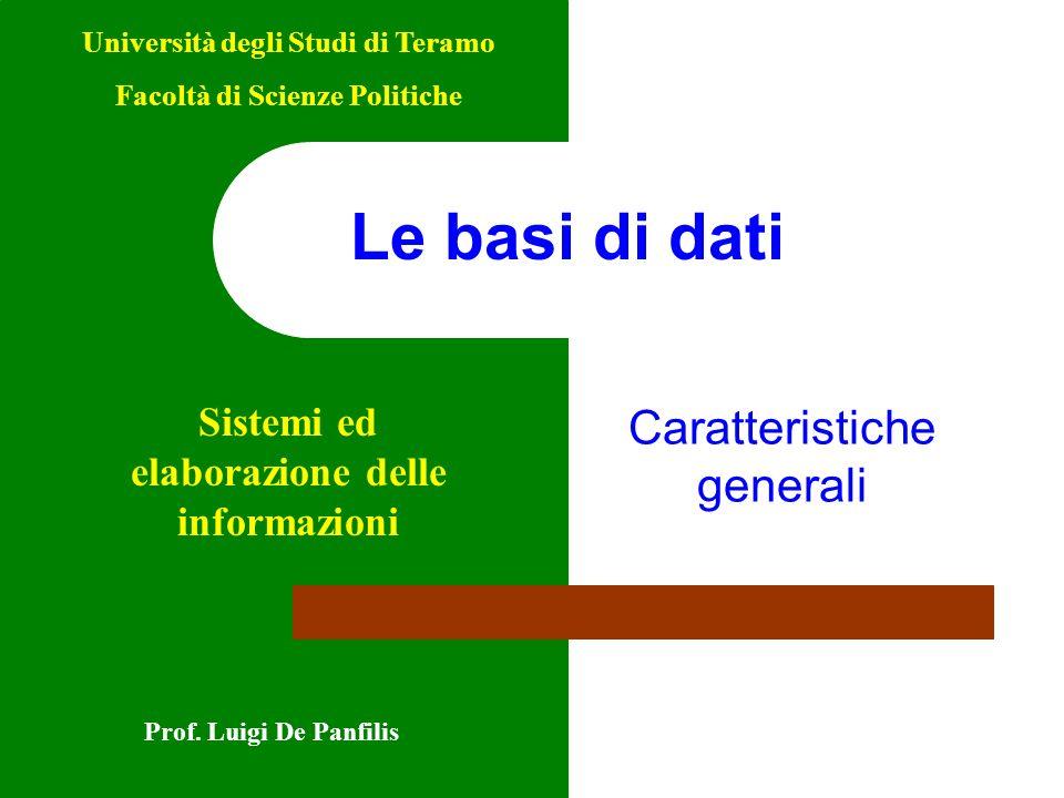 Caratteristiche generali Prof. Luigi De Panfilis Università degli Studi di Teramo Facoltà di Scienze Politiche Sistemi ed elaborazione delle informazi
