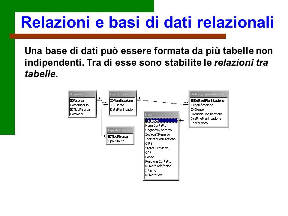 Una base di dati può essere formata da più tabelle non indipendenti. Tra di esse sono stabilite le relazioni tra tabelle. Relazioni e basi di dati rel