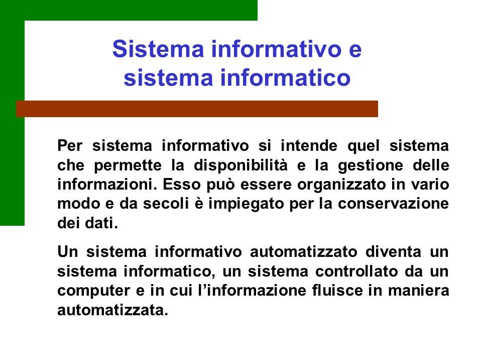Per sistema informativo si intende quel sistema che permette la disponibilità e la gestione delle informazioni. Esso può essere organizzato in vario m