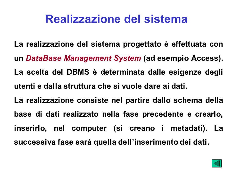 Realizzazione del sistema La realizzazione del sistema progettato è effettuata con un DataBase Management System (ad esempio Access). La scelta del DB