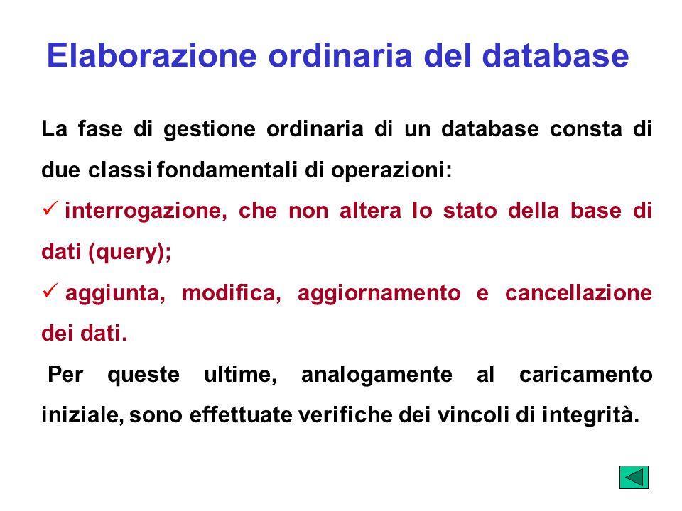 Elaborazione ordinaria del database La fase di gestione ordinaria di un database consta di due classi fondamentali di operazioni: interrogazione, che