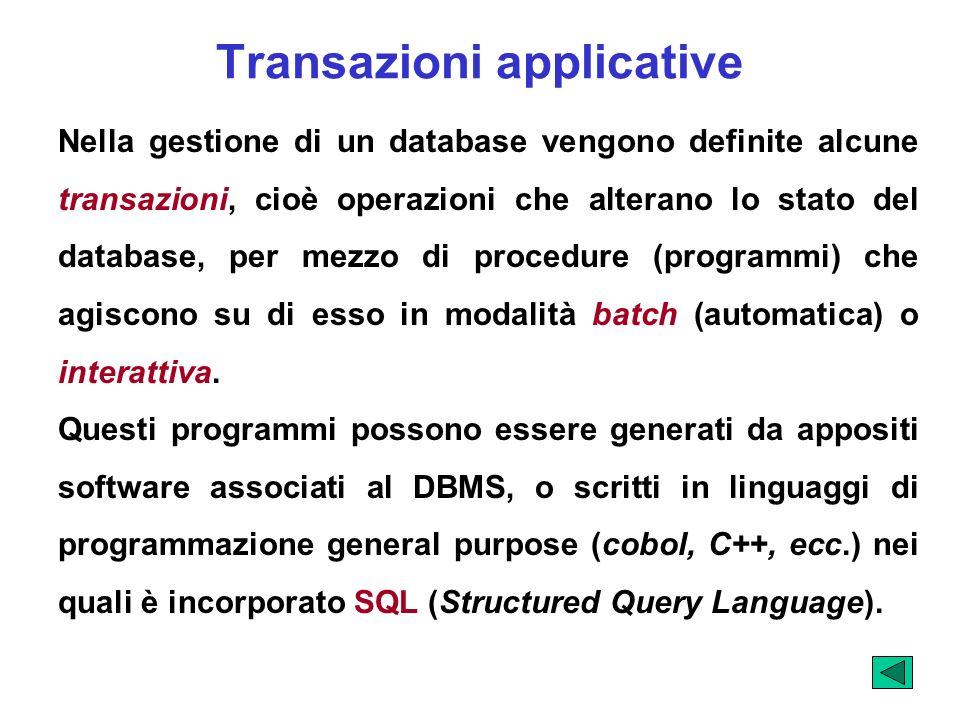 Transazioni applicative Nella gestione di un database vengono definite alcune transazioni, cioè operazioni che alterano lo stato del database, per mez