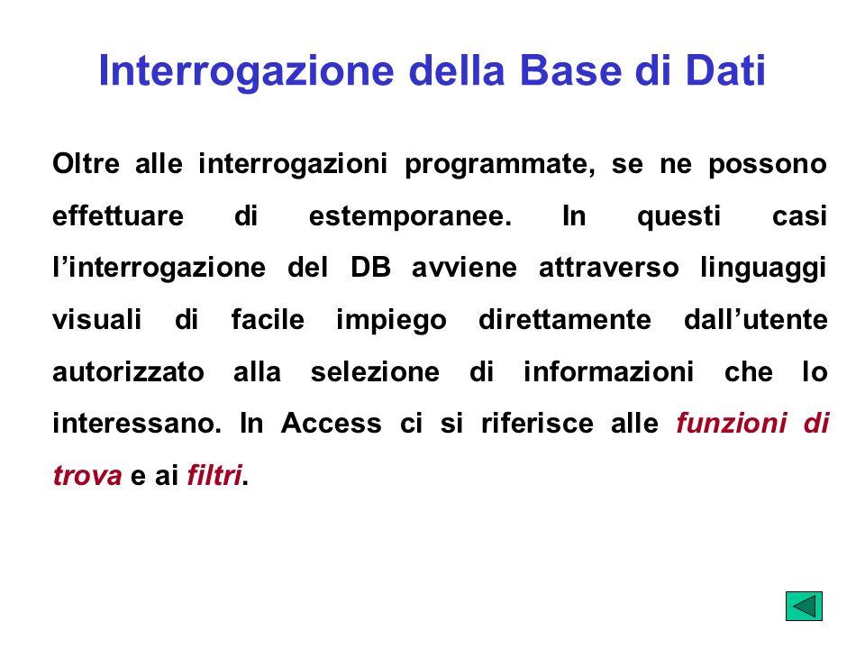 Interrogazione della Base di Dati Oltre alle interrogazioni programmate, se ne possono effettuare di estemporanee. In questi casi linterrogazione del