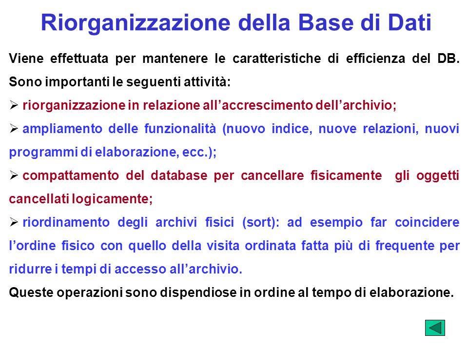 Riorganizzazione della Base di Dati Viene effettuata per mantenere le caratteristiche di efficienza del DB. Sono importanti le seguenti attività: rior