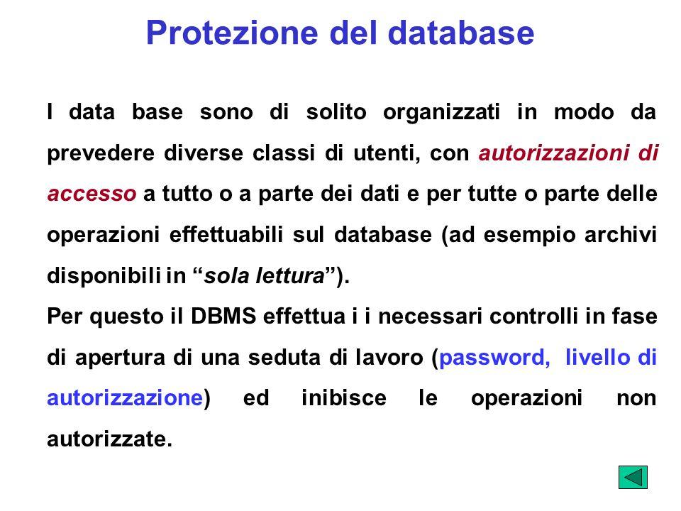 Protezione del database I data base sono di solito organizzati in modo da prevedere diverse classi di utenti, con autorizzazioni di accesso a tutto o