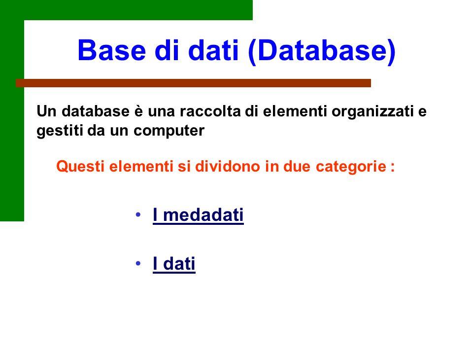 Un database è una raccolta di elementi organizzati e gestiti da un computer I medadati I dati Questi elementi si dividono in due categorie : Base di d