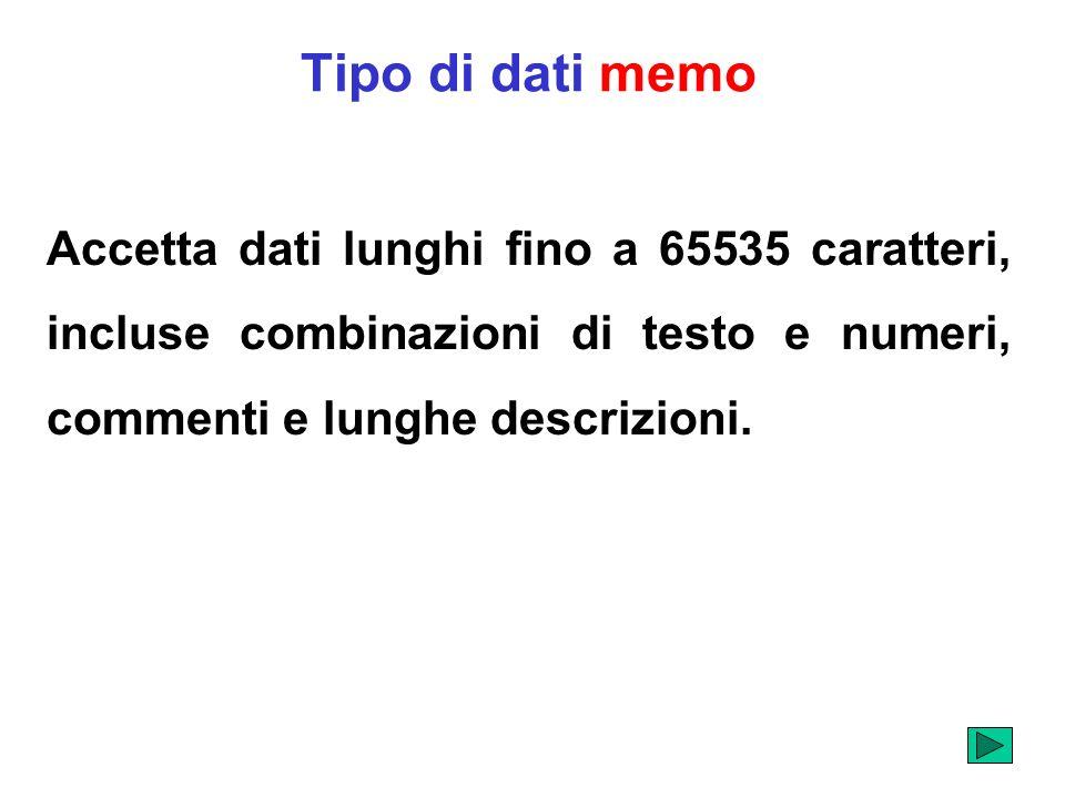 Tipo di dati memo Accetta dati lunghi fino a 65535 caratteri, incluse combinazioni di testo e numeri, commenti e lunghe descrizioni.