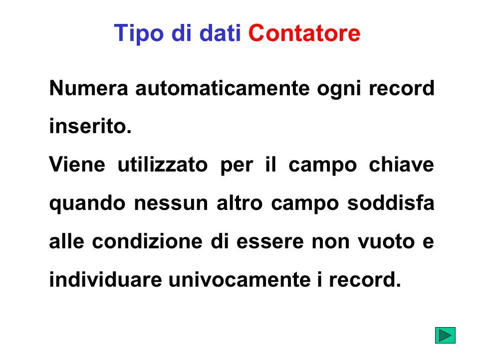 Tipo di dati Contatore Numera automaticamente ogni record inserito. Viene utilizzato per il campo chiave quando nessun altro campo soddisfa alle condi