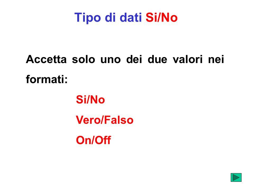 Tipo di dati Si/No Accetta solo uno dei due valori nei formati: Si/No Vero/Falso On/Off
