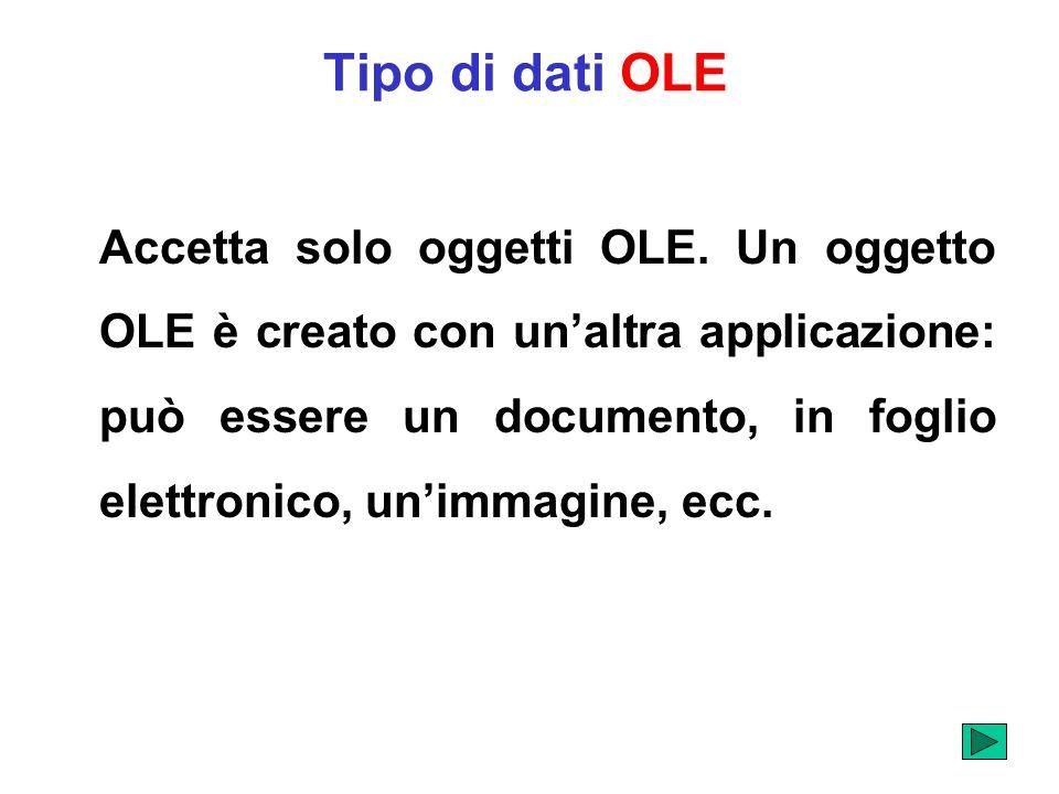 Tipo di dati OLE Accetta solo oggetti OLE. Un oggetto OLE è creato con unaltra applicazione: può essere un documento, in foglio elettronico, unimmagin