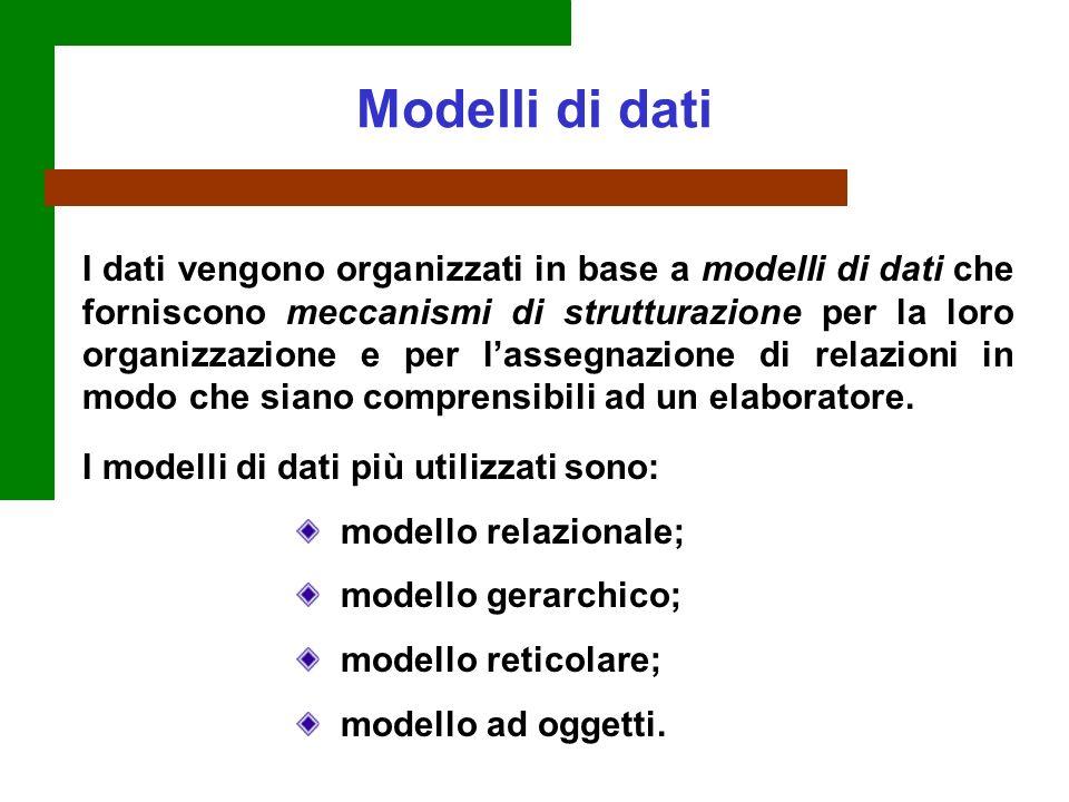 I dati vengono organizzati in base a modelli di dati che forniscono meccanismi di strutturazione per la loro organizzazione e per lassegnazione di rel
