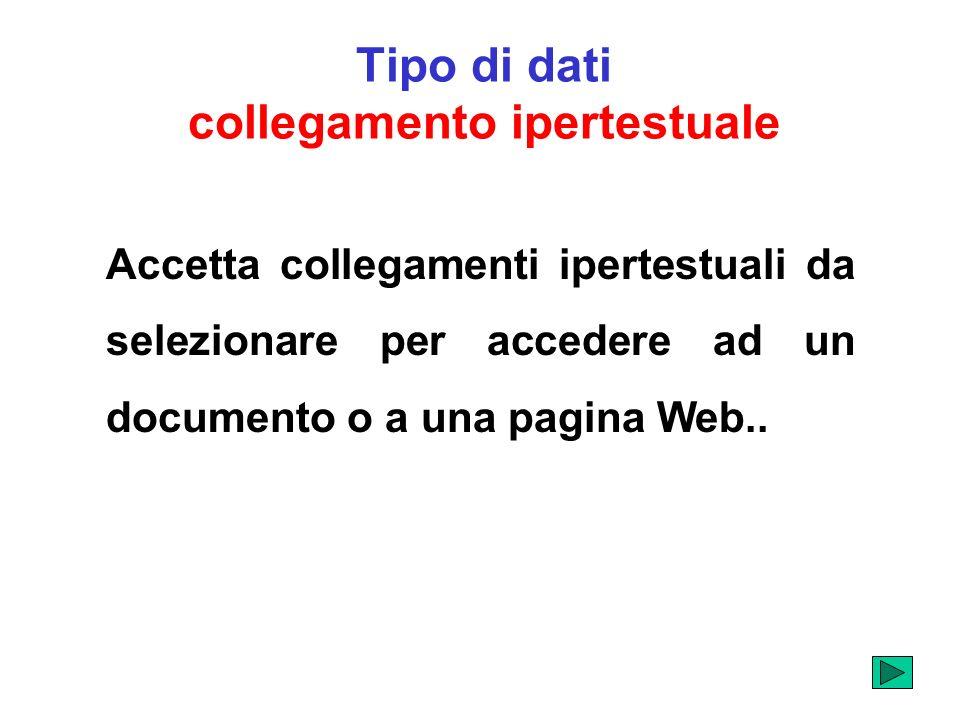 Tipo di dati collegamento ipertestuale Accetta collegamenti ipertestuali da selezionare per accedere ad un documento o a una pagina Web..