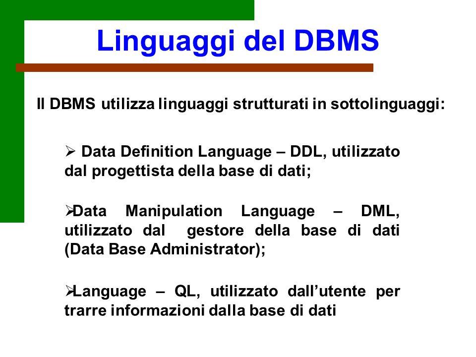 Il DBMS utilizza linguaggi strutturati in sottolinguaggi: Data Definition Language – DDL, utilizzato dal progettista della base di dati; Linguaggi del