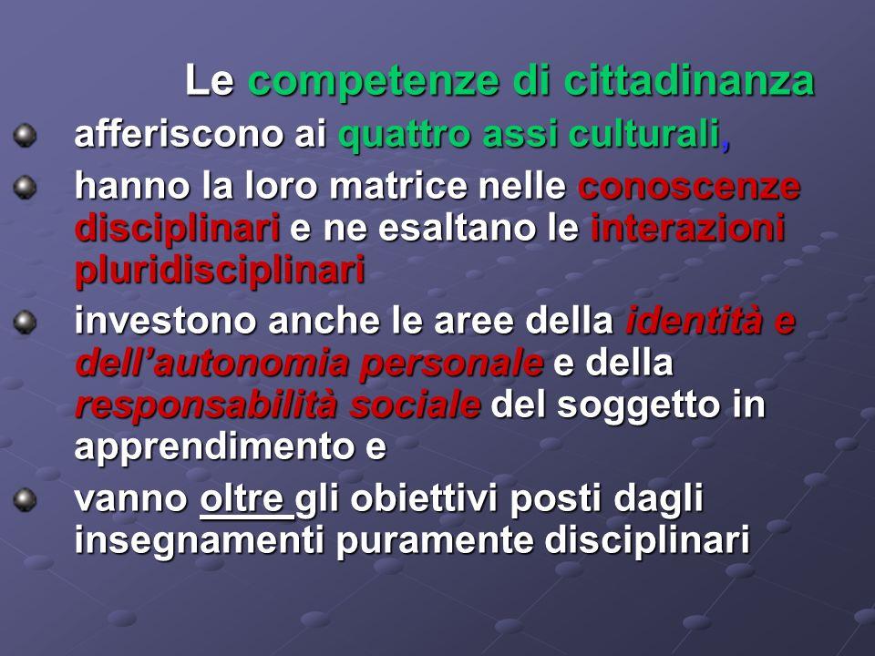 Le competenze di cittadinanza afferiscono ai quattro assi culturali, afferiscono ai quattro assi culturali, hanno la loro matrice nelle conoscenze dis