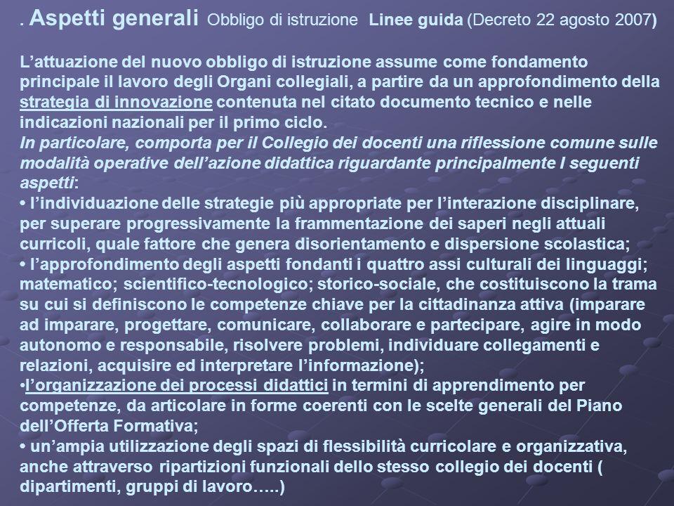. Aspetti generali Obbligo di istruzione Linee guida (Decreto 22 agosto 2007) Lattuazione del nuovo obbligo di istruzione assume come fondamento princ