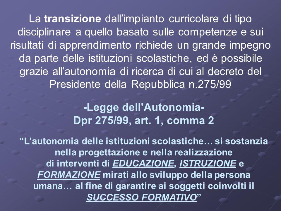 -Legge dellAutonomia- Dpr 275/99, art. 1, comma 2 Lautonomia delle istituzioni scolastiche… si sostanzia nella progettazione e nella realizzazione di