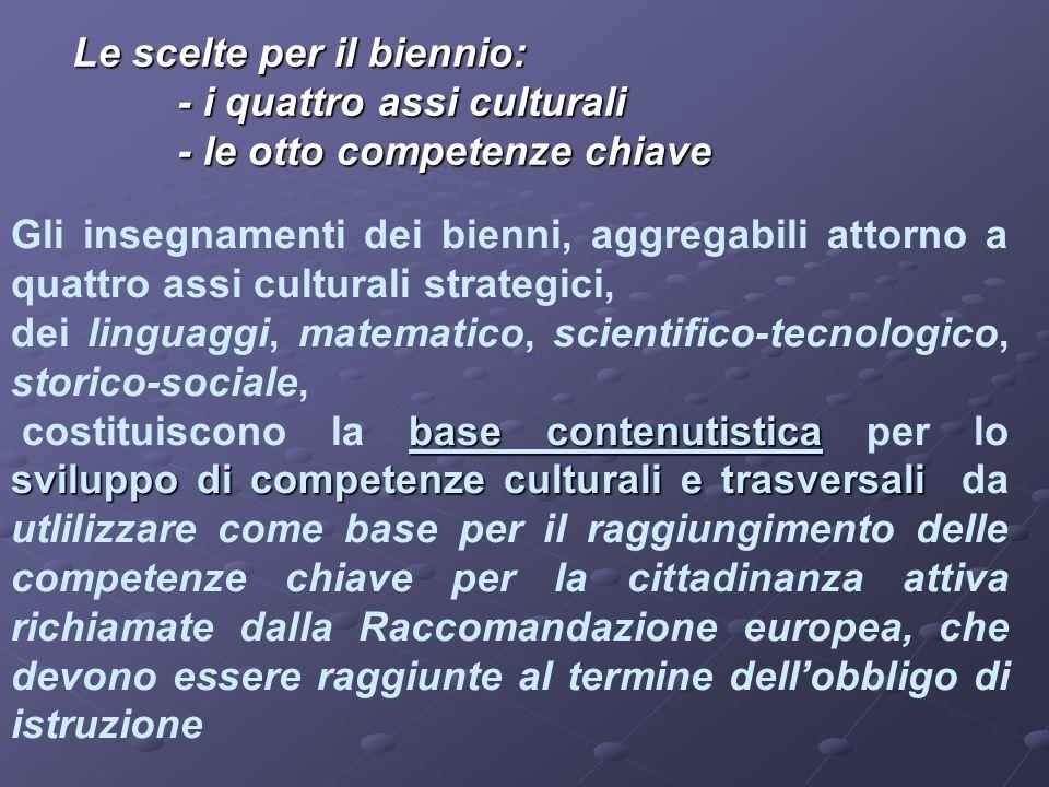 Le scelte per il biennio: - i quattro assi culturali - le otto competenze chiave Gli insegnamenti dei bienni, aggregabili attorno a quattro assi cultu