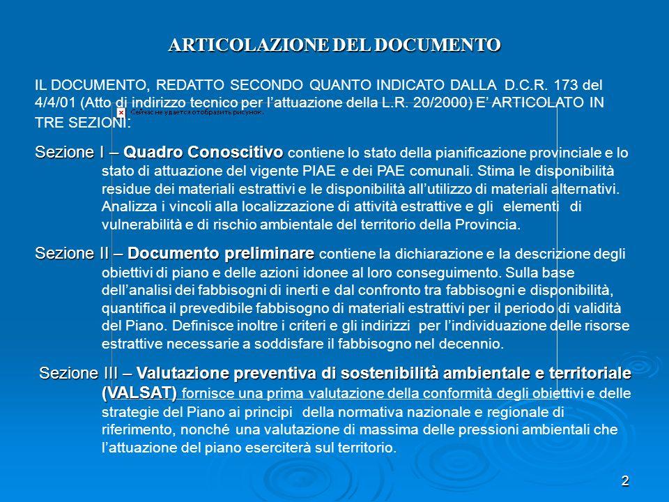 2 ARTICOLAZIONE DEL DOCUMENTO IL DOCUMENTO, REDATTO SECONDO QUANTO INDICATO DALLA D.C.R. 173 del 4/4/01 (Atto di indirizzo tecnico per lattuazione del