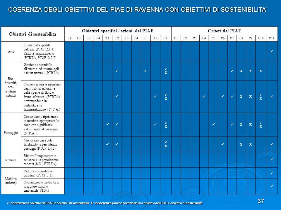 37 Obiettivi di sostenibilità Obiettivi specifici / azioni del PIAE Criteri del PIAE 1.11.21.31.42.12.22.32.43.13.23.3C1C2C3C4C5C6C7C8C9C10C11 Aria Tu