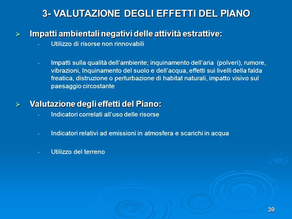 39 3- VALUTAZIONE DEGLI EFFETTI DEL PIANO Impatti ambientali negativi delle attività estrattive: Impatti ambientali negativi delle attività estrattive